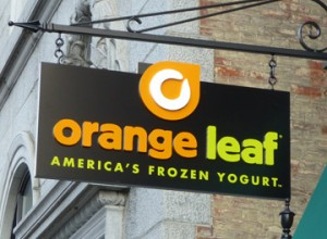Orange Leaf VT sign